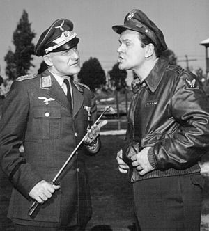 Werner Klemperer - Werner Klemperer with Bob Crane during an episode of Hogan's Heroes.