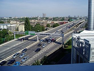 White City, London - Westway flyover junction at Ladbroke Grove, looking east