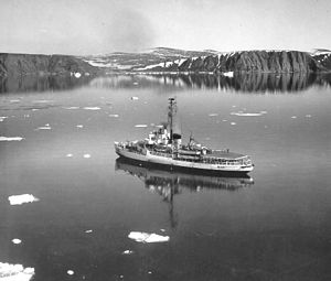 USCGC Westwind near Cape Atholl, Greenland, returning from Arctic cruise (1964).