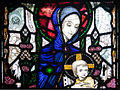 Wexford Church of the Assumption South Aisle Window Harry Clarke The Madonna with Sts Aidan and Adrian Detail Madonna and Child 2010 09 29.jpg