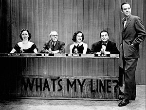 Dorothy Kilgallen - The What's My Line? panel in 1952.  From left: Dorothy Kilgallen, Bennett Cerf, Arlene Francis and Hal Block, with John Daly as the host