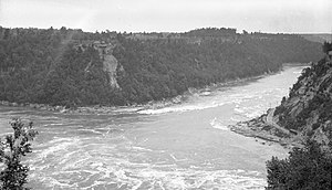 Niagara Whirlpool - Whirlpool viewed from Canadian side, with Niagara Gorge Railroad visible in bottom right, 1911