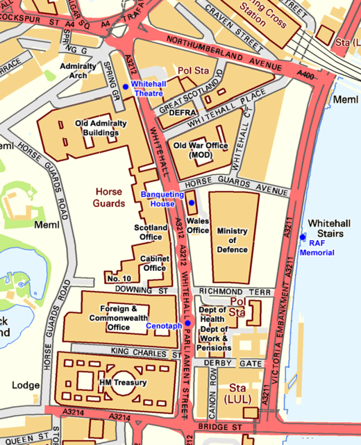 Map of Whitehall and surrounding streets, showing government buildings