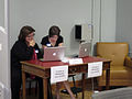 Wikipedia user account creation table at the UNC edit-a-thon, April 2013.jpg