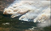The Old Fire burning in the San Bernardino Mountains (image taken from the International Space Station)