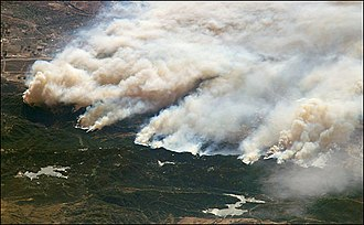Fire ecology - The Old Fire burning in the San Bernardino Mountains (image taken from the International Space Station)
