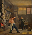 Wilhelm Bendz - A sculptor in his studio working from the life. The medallist Christen Christensen. - Google Art Project.jpg