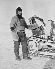William Lashly standing by a Wolseley motor sleigh during the British Antarctic Expedition of 1911–1913, November 1911