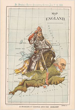 "Government of Ireland Bill 1886 - This map, named ""Modern St. George and The Dragon"", satirizes the Irish Home Rule crisis of 1886 and appeared two years later in the Conservative St. Stephen's Review. The Lord Salisbury as St George spears the dragon Gladstone."