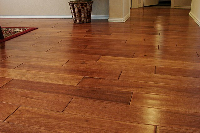 File wood flooring made of hickory wikimedia commons - Faux parquet autocollant ...