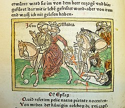 Woodcut illustration of the escape of Jason with Medea and the death of her brother Absyrtis - Penn Provenance Project.jpg