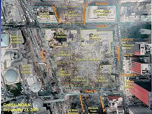 World Trade Center site - Satellite image of the World Trade center site after the attacks with the location of the Twin Towers and other buildings in the complex superimposed over the debris field