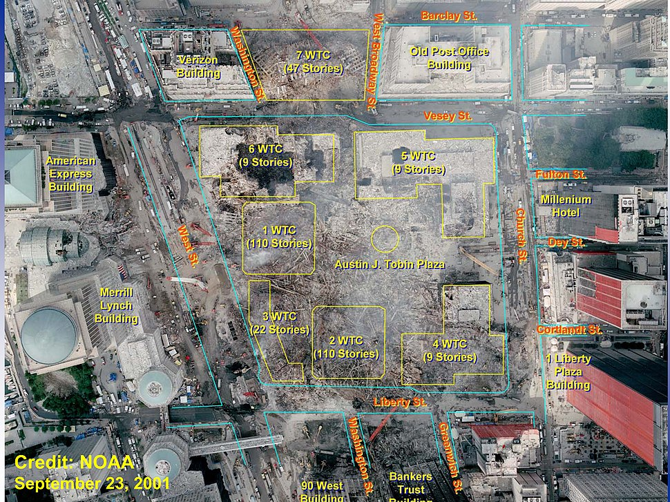 World Trade Center Site After 9-11 Attacks With Original Building Locations