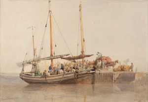 Edward Duncan - Yarmouth Herring Boat by Edward Duncan, Watercolour and Pencil, 1849