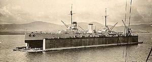 Gölcük Naval Shipyard - TCG Yavuz in the new floating drydock, c. 1928.