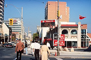 Bob Rae - Retail stores along Yonge Street in Toronto, circa 1990, at a time when the issue of Sunday shopping was being debated in Ontario
