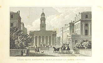 York Gate, London - Looking through York Gate to St Marylebone Parish Church, 1828, by Thomas H. Shepherd