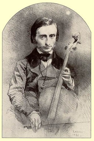 Jacques Offenbach - Offenbach as a young cello virtuoso, drawing by Alexandre Laemlein from 1850