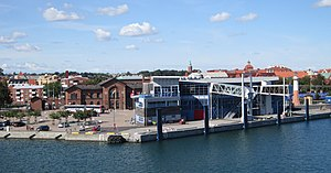 Ystad - The ferry terminal, and behind it, Ystad railway station