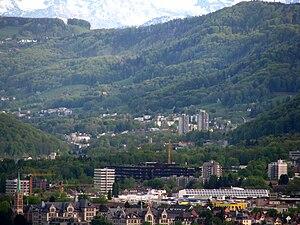 Albis - Leimbach (Zürich), lower Sihltal and Albis hills, as seen from Käferberg