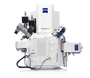Ion beam - Carl Zeiss Crossbeam 550 - combines a field emission scanning electron microscope (FE-SEM) with a focused ion beam (FIB).