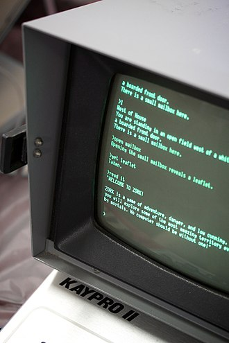 Adventure game - A computer terminal running Zork (1977), one of the first commercially successful text adventure games.