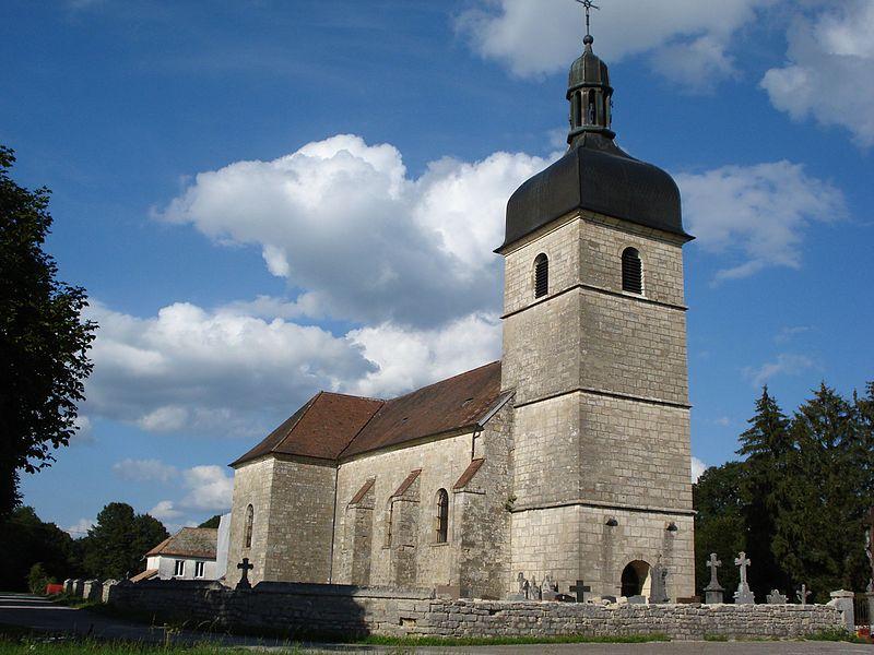 Église de La Barèche (Doubs, France), sur le territoire de la commune de Durnes, partagée entre plusieurs communes (Durnes, Échevannes, Lavans-Vuillafans, Voires).