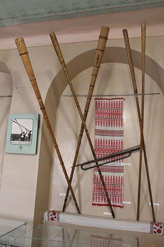 Trembita - Five trembitas in a museum