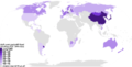 نسبة اللادينيين حسب البلد - إحصاء مركز بيو للأبحاث 2010.png
