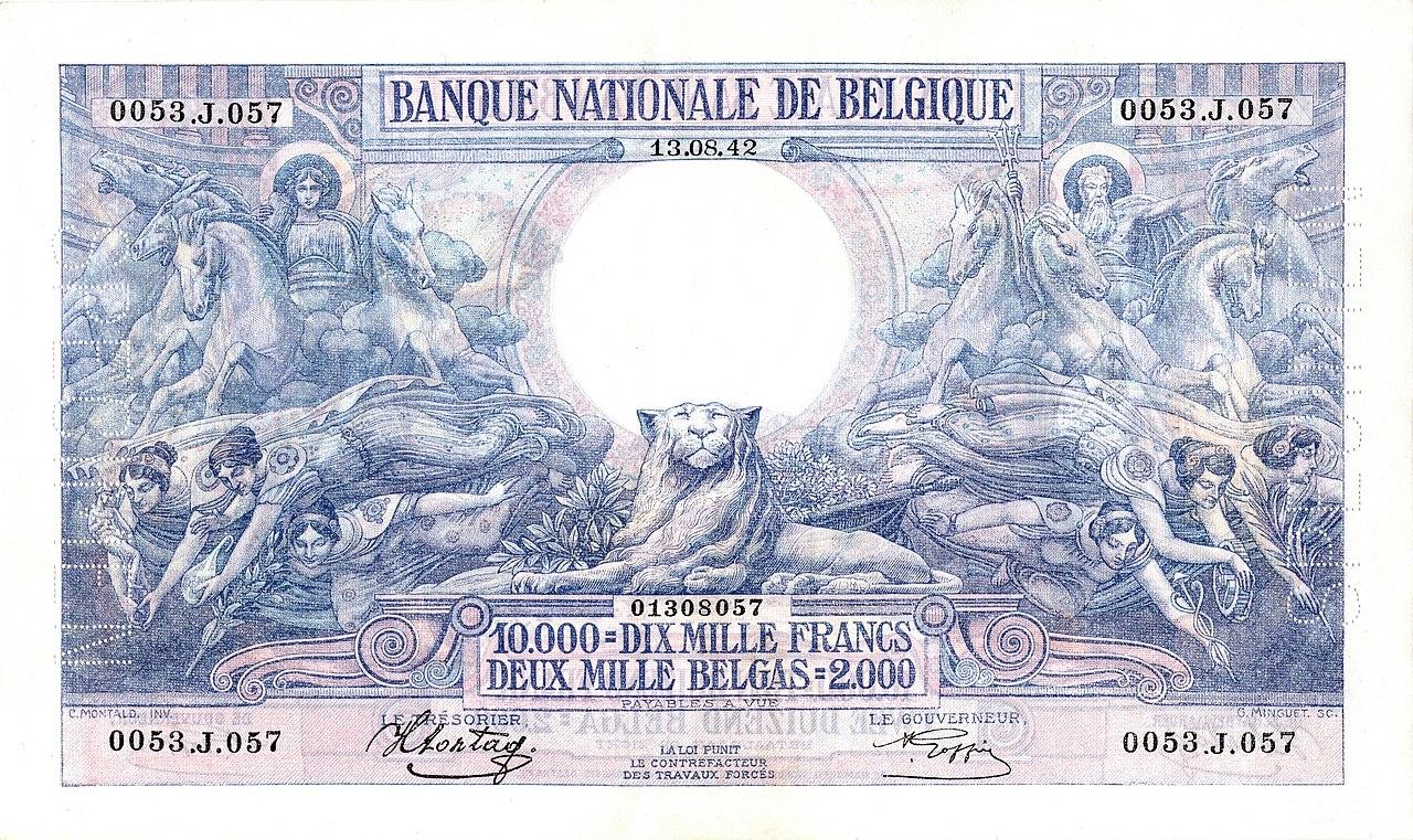 1929 اسکناس بلژیکی، نشان دهنده سرس، نپتون و کادوکوس است