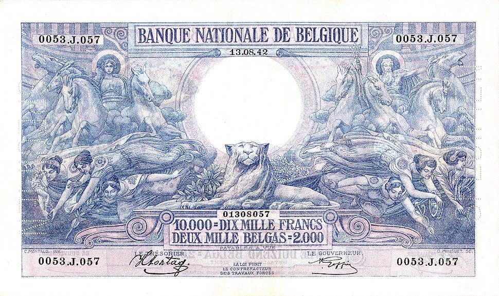 10,000 Belgian francs of 1929 edited