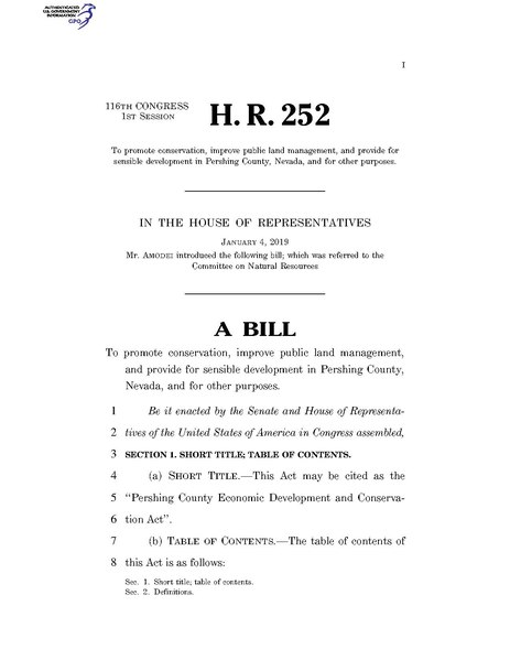File:116th United States Congress H. R. 0000252 (1st session) - Pershing County Economic Development and Conservation Act.pdf