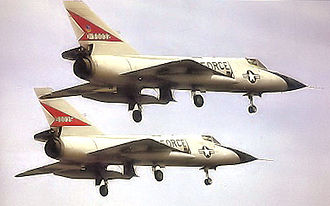 343d Wing - Two 11th FIS F-106s preparing to land at Duluth Airport, about 1967