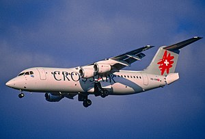 Crossair Flight 3597 - HB-IXM, the Avro RJ100 involved in the ill-fated flight, seen at Zürich Airport three months prior to the disaster