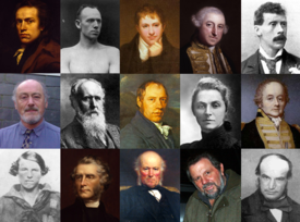 A photomontage in a grid-layout, consisting of portraits of 15 famous Cornish people. The photomontage comprises three rows of five portraits of musicians, sportspeople and politicians of mixed gender. The people in the portraits broadly appear formal.
