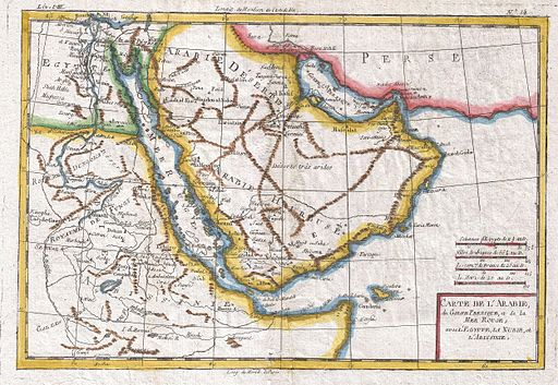 1780 Raynal and Bonne Map of Arabia and Abyssinia - Geographicus - Arabie-bonne-1780