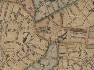 Cornhill, Boston - Image: 1826 Court St map Boston by Stephen P Fuller detail BPL10344