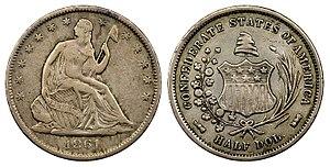 Confederate States dollar - 1861 50C Original Confederate Half Dollar reportedly belonging to CSA President Jefferson Davis.