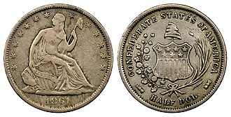 Confederate States dollar - 1861 50C Original Confederate Half Dollar reportedly belonging to CSA President Jefferson Davis.