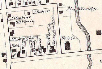 Bedford Road Historic District - Image: 1867 Beers North Castle map Armonk closeup