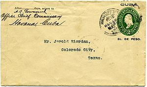 Corner card (philately) - 1899 postal stationery envelope from U.S. occupied Cuba with an imprinted partial request corner card.