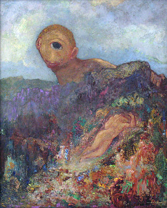Cyclops - The Cyclops, gouache and oil by Odilon Redon (1840–1916), undated (Kröller-Müller Museum)