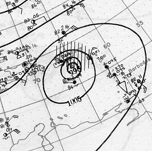 1928 Okeechobee hurricane - Surface weather analysis of the storm nearing Puerto Rico