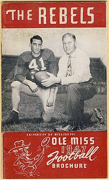 1947 Ole Miss Media Guide Featuring Charlie Conerly Left And Coach Johnny Vaught Right