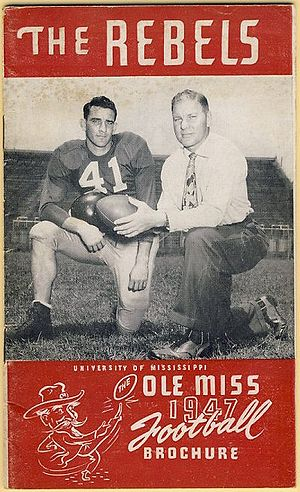 Ole Miss Rebels football - 1947 Ole Miss media guide featuring Charlie Conerly (left) and coach Johnny Vaught (right)