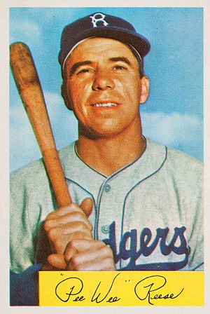 Pee Wee Reese - Reese displayed in a trading card by the Bowman Gum Company, 1954