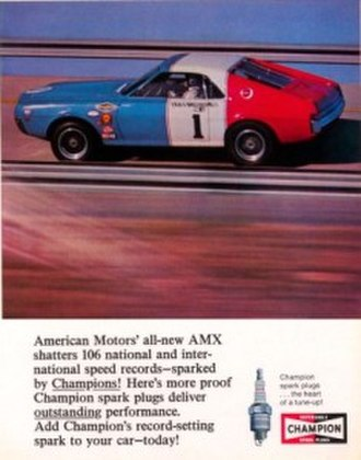 "AMC AMX - AMX ""shatters"" speed records in an advertisement for Champion spark plugs"