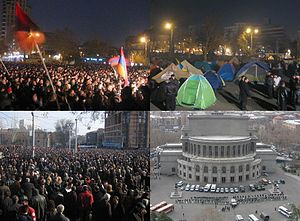 2008 Armenian presidential election protests - Protests at Freedom Square on 24 February, tents set up by protesters, demonstrations at Myasnikyan Square on 1 March. Police forces occupying the Freedom Square weeks after the forcible suppression on 23 March.