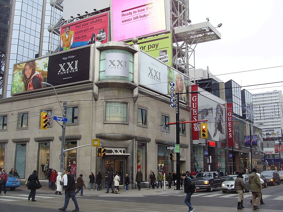 The northwest corner of the intersection of Yonge Street and Dundas Street in Toronto, Ontario, Canada.