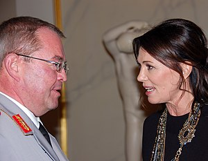 Günter Weiler - Günter Weiler speaking with actress Iris Berben at the ceremony in which he represented the Bundeswehr that, as an institution, was being presented the Quadriga Award in 2010.
